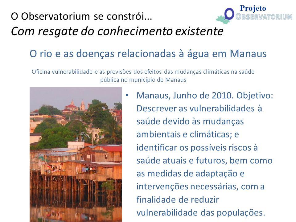 O rio e as doenças relacionadas à água em Manaus Manaus, Junho de 2010. Objetivo: Descrever as vulnerabilidades à saúde devido às mudanças ambientais