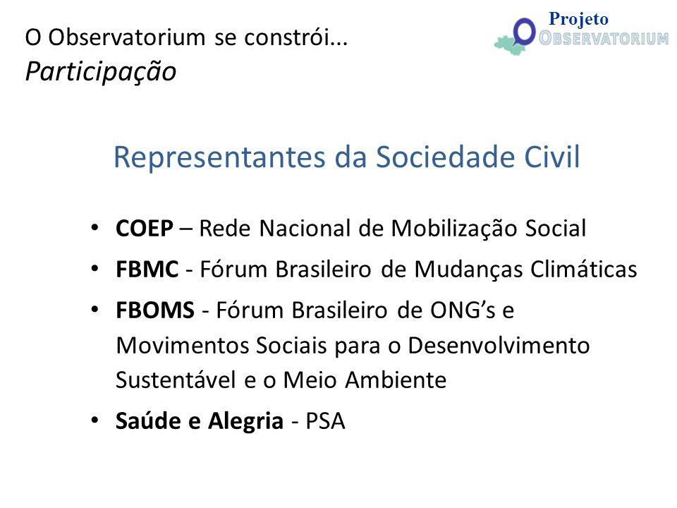 Representantes da Sociedade Civil COEP – Rede Nacional de Mobilização Social FBMC - Fórum Brasileiro de Mudanças Climáticas FBOMS - Fórum Brasileiro d