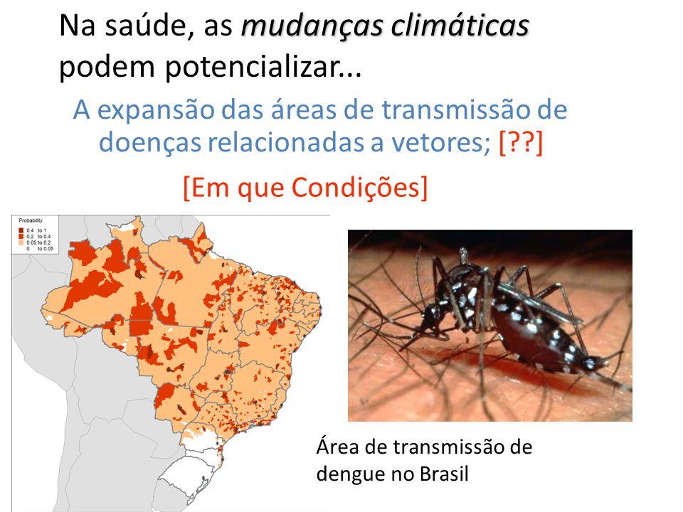 mudanças climáticas Na saúde, as mudanças climáticas podem potencializar... A expansão das áreas de transmissão de doenças relacionadas a vetores; [??