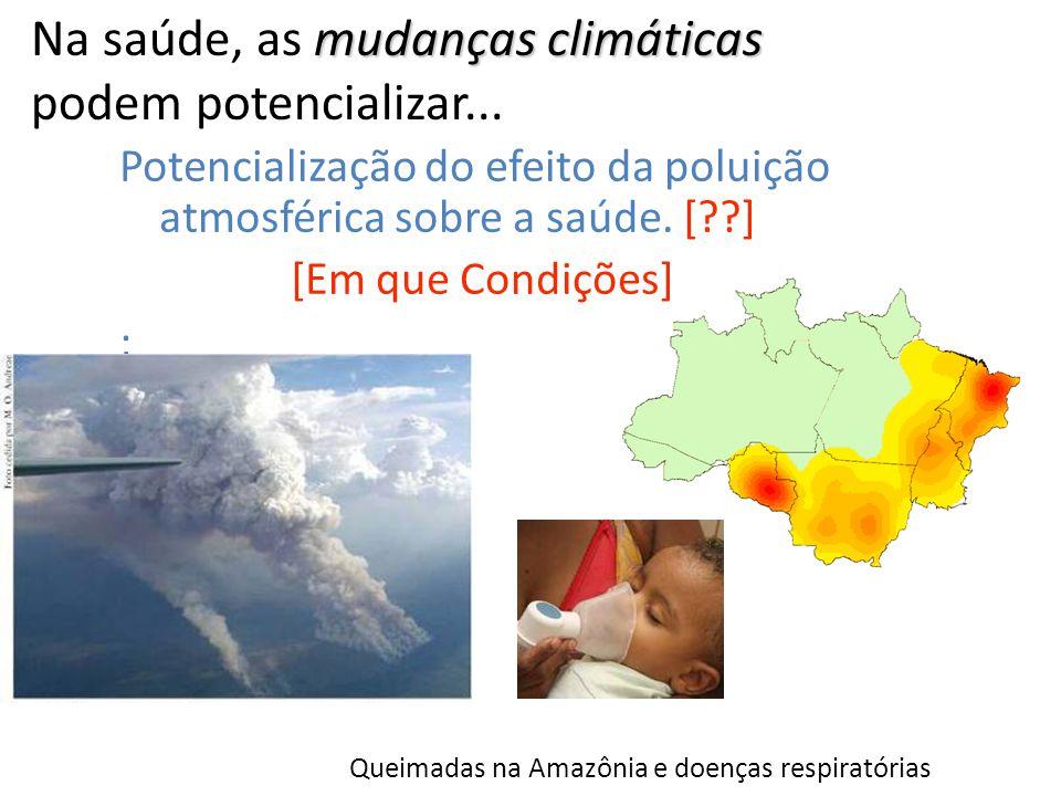 mudanças climáticas Na saúde, as mudanças climáticas podem potencializar... Potencialização do efeito da poluição atmosférica sobre a saúde. [??] [Em