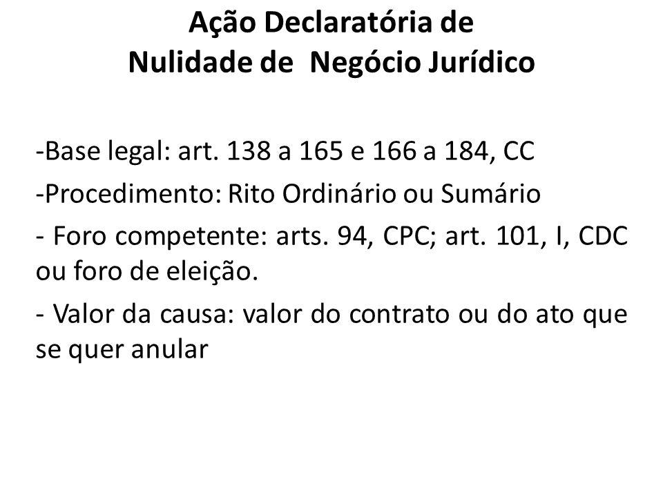 Ação Declaratória de Nulidade de Negócio Jurídico -Base legal: art. 138 a 165 e 166 a 184, CC -Procedimento: Rito Ordinário ou Sumário - Foro competen