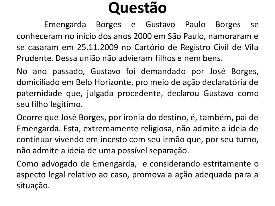 Questão Emengarda Borges e Gustavo Paulo Borges se conheceram no início dos anos 2000 em São Paulo, namoraram e se casaram em 25.11.2009 no Cartório d