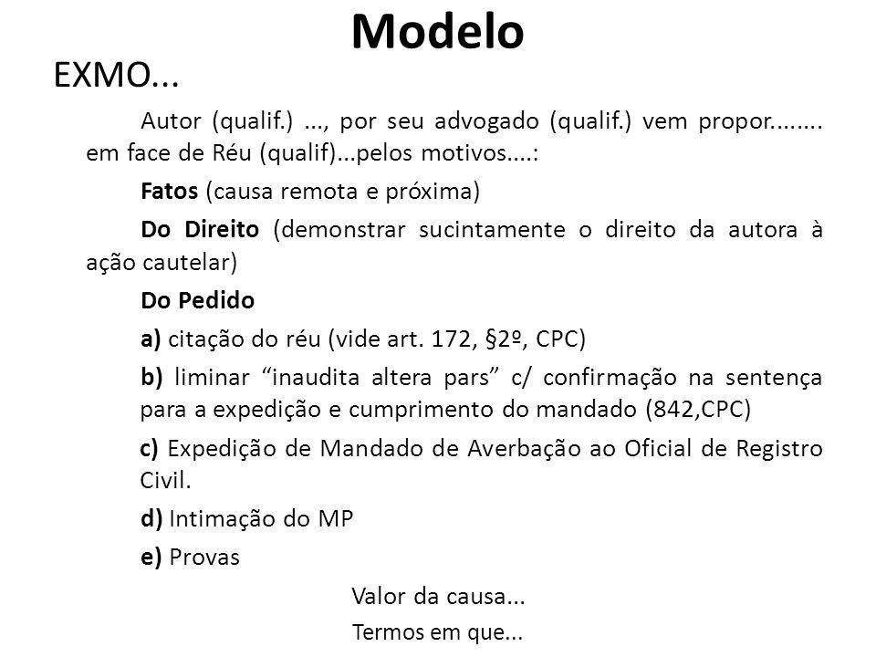 Modelo EXMO... Autor (qualif.)..., por seu advogado (qualif.) vem propor........ em face de Réu (qualif)...pelos motivos....: Fatos (causa remota e pr