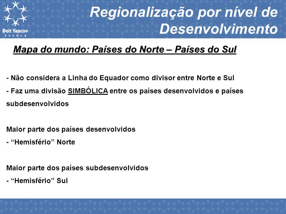 Regionalização por nível de Desenvolvimento Mapa do mundo: Países do Norte – Países do Sul - Não considera a Linha do Equador como divisor entre Norte
