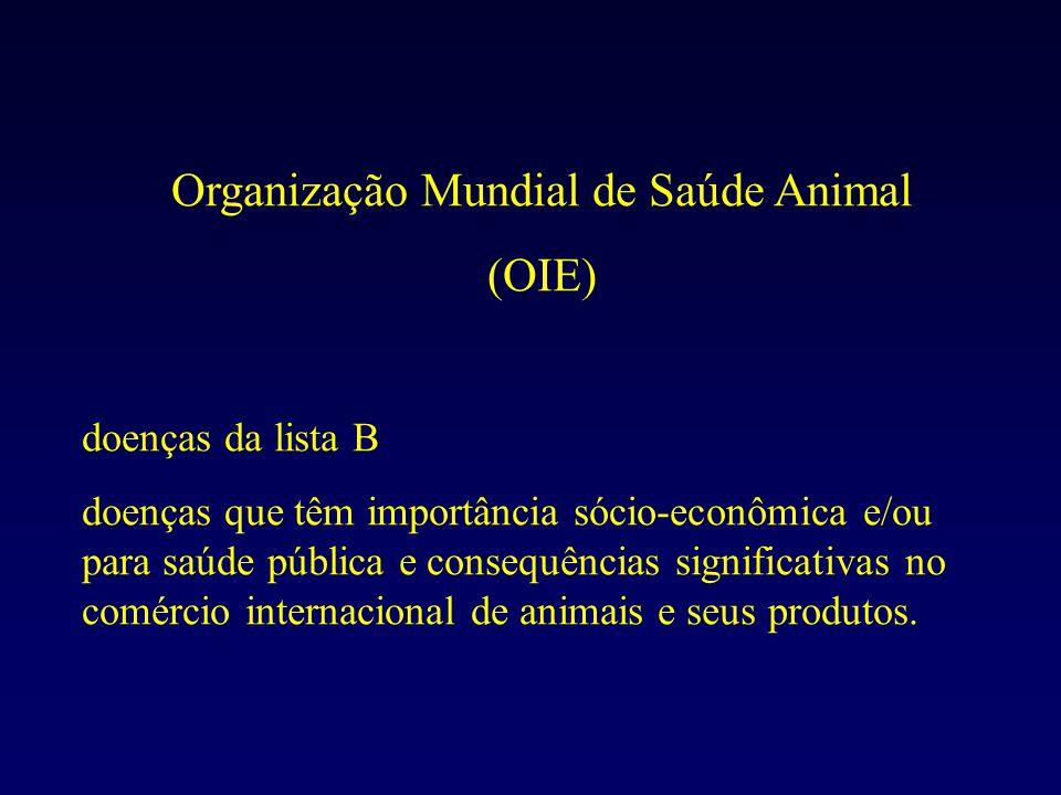 Organização Mundial de Saúde Animal (OIE) doenças da lista B doenças que têm importância sócio-econômica e/ou para saúde pública e consequências significativas no comércio internacional de animais e seus produtos.