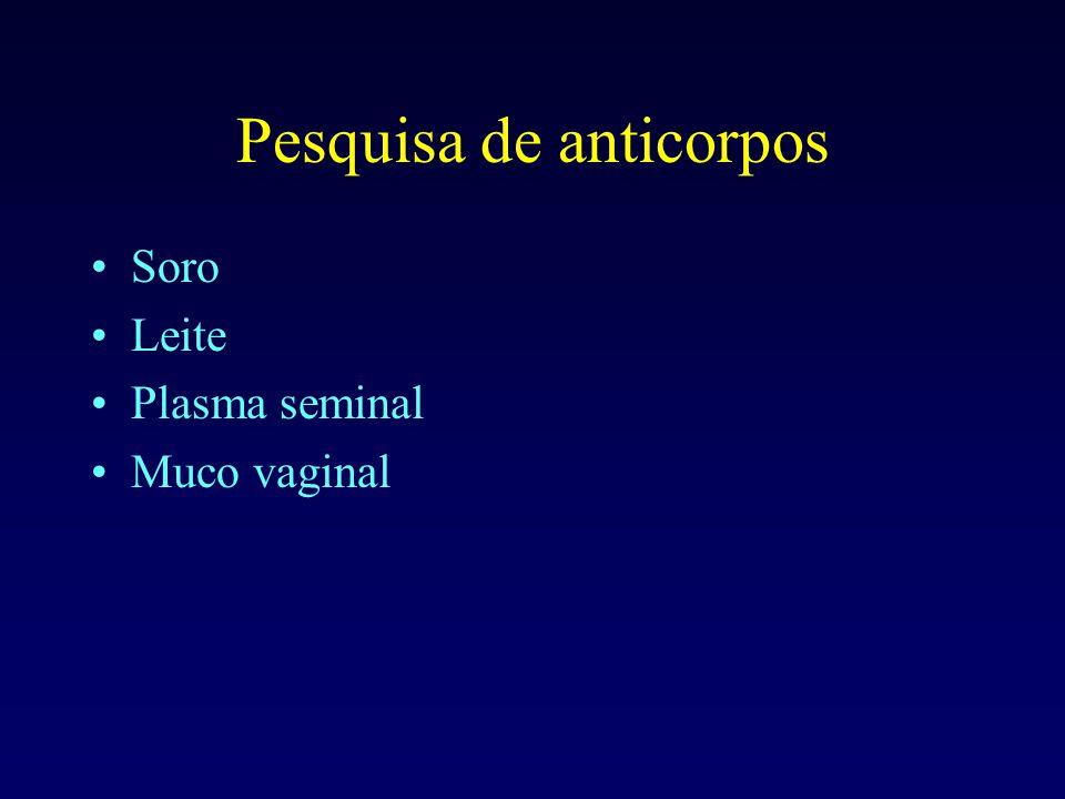 Pesquisa de anticorpos Soro Leite Plasma seminal Muco vaginal