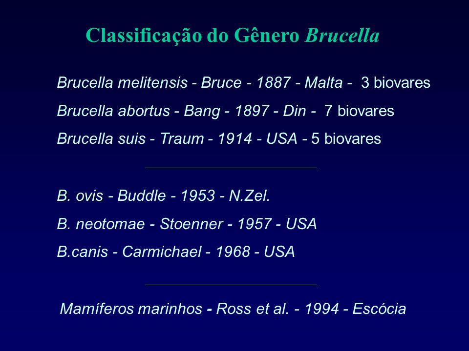 B. ovis B. ovis - Buddle - 1953 - N.Zel. B. neotomae - Stoenner - 1957 - USA B.canis - Carmichael - 1968 - USA Classificação do Gênero Brucella Brucel