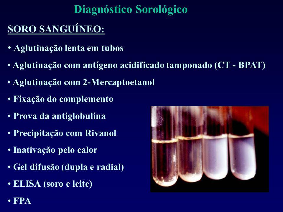Diagnóstico Sorológico SORO SANGUÍNEO: Aglutinação lenta em tubos Aglutinação com antígeno acidificado tamponado (CT - BPAT) Aglutinação com 2-Mercaptoetanol Fixação do complemento Prova da antiglobulina Precipitação com Rivanol Inativação pelo calor Gel difusão (dupla e radial) ELISA (soro e leite) FPA