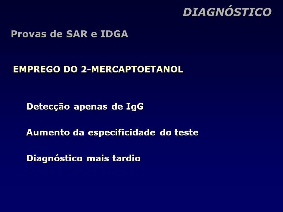 DIAGNÓSTICO DIAGNÓSTICO EMPREGO DO 2-MERCAPTOETANOL Provas de SAR e IDGA Detecção apenas de IgG Aumento da especificidade do teste Diagnóstico mais tardio