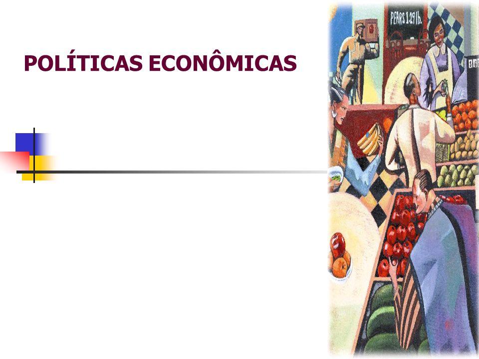 POLÍTICAS ECONOMICAS Políticas Econômicas  Políticas Econômicas - são as ações tomadas pelo governo, que, utilizando instrumentos econômicos, buscam atingir determinados objetivos macroeconômicos ;