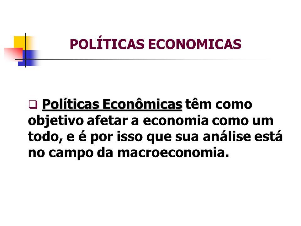 POLÍTICAS ECONOMICAS Políticas Econômicas  Políticas Econômicas têm como objetivo afetar a economia como um todo, e é por isso que sua análise está no campo da macroeconomia.