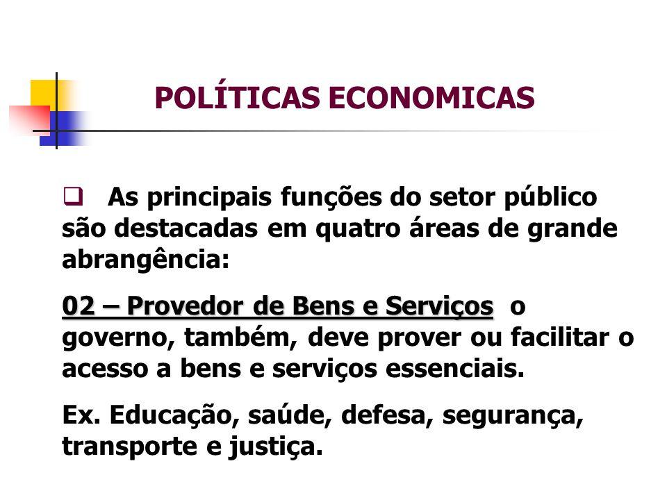 POLÍTICAS ECONOMICAS  As principais funções do setor público são destacadas em quatro áreas de grande abrangência: 03 – Redistributiva 03 – Redistributiva - as políticas econômicas devem atingir e vir a beneficiar os mais necessitados da sociedade.
