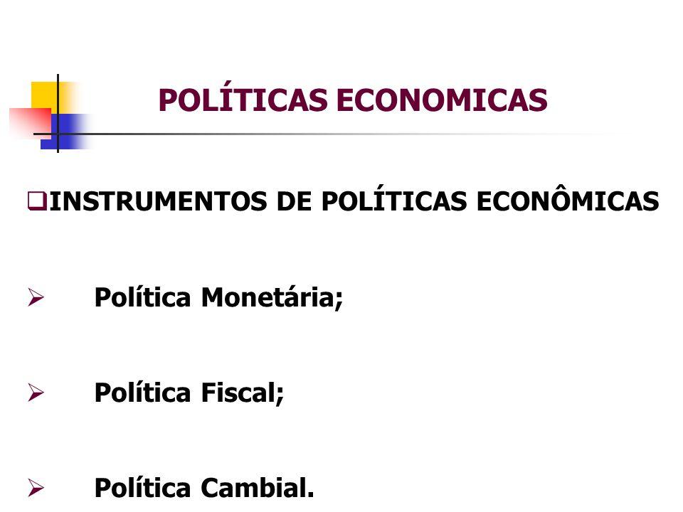 POLÍTICAS ECONOMICAS  INSTRUMENTOS DE POLÍTICAS ECONÔMICAS  Política Monetária;  Política Fiscal;  Política Cambial.