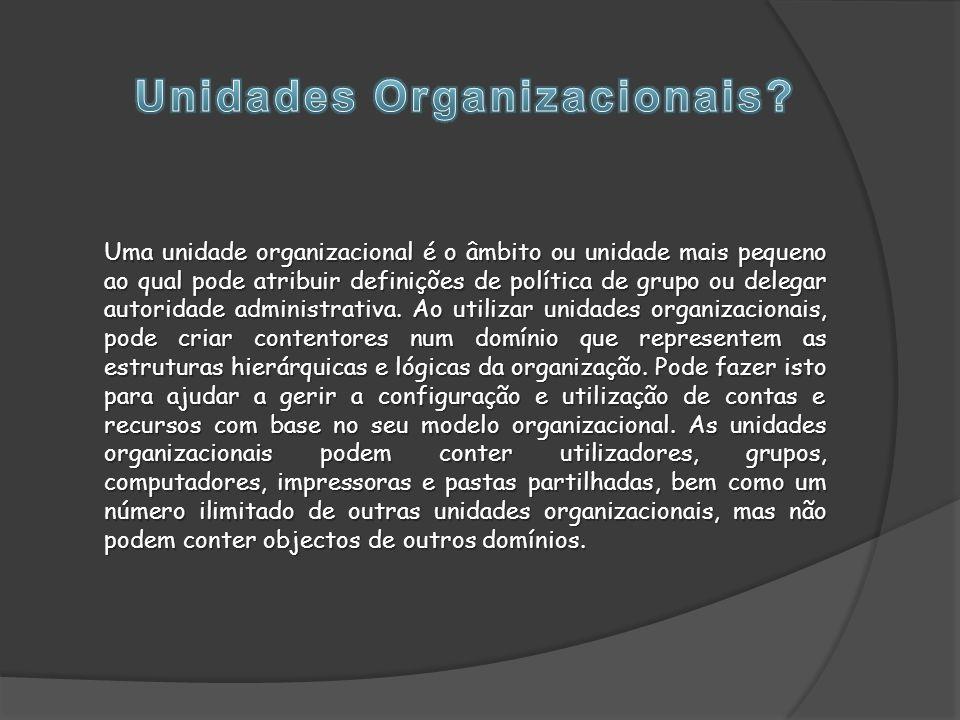 Uma unidade organizacional é o âmbito ou unidade mais pequeno ao qual pode atribuir definições de política de grupo ou delegar autoridade administrativa.