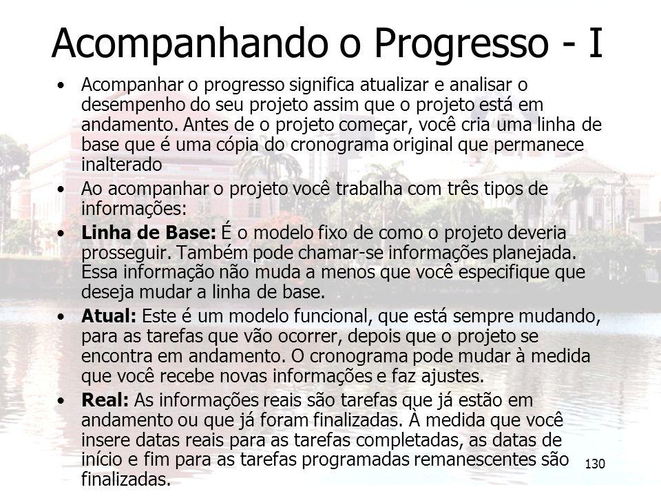 130 Acompanhando o Progresso - I Acompanhar o progresso significa atualizar e analisar o desempenho do seu projeto assim que o projeto está em andamen