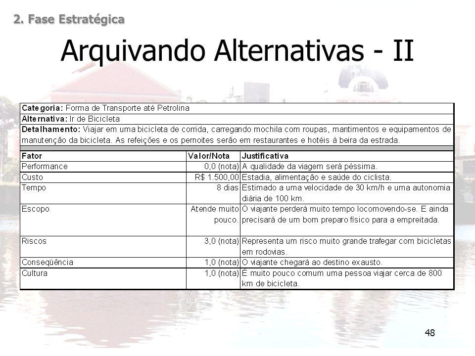 48 Arquivando Alternativas - II 2. Fase Estratégica