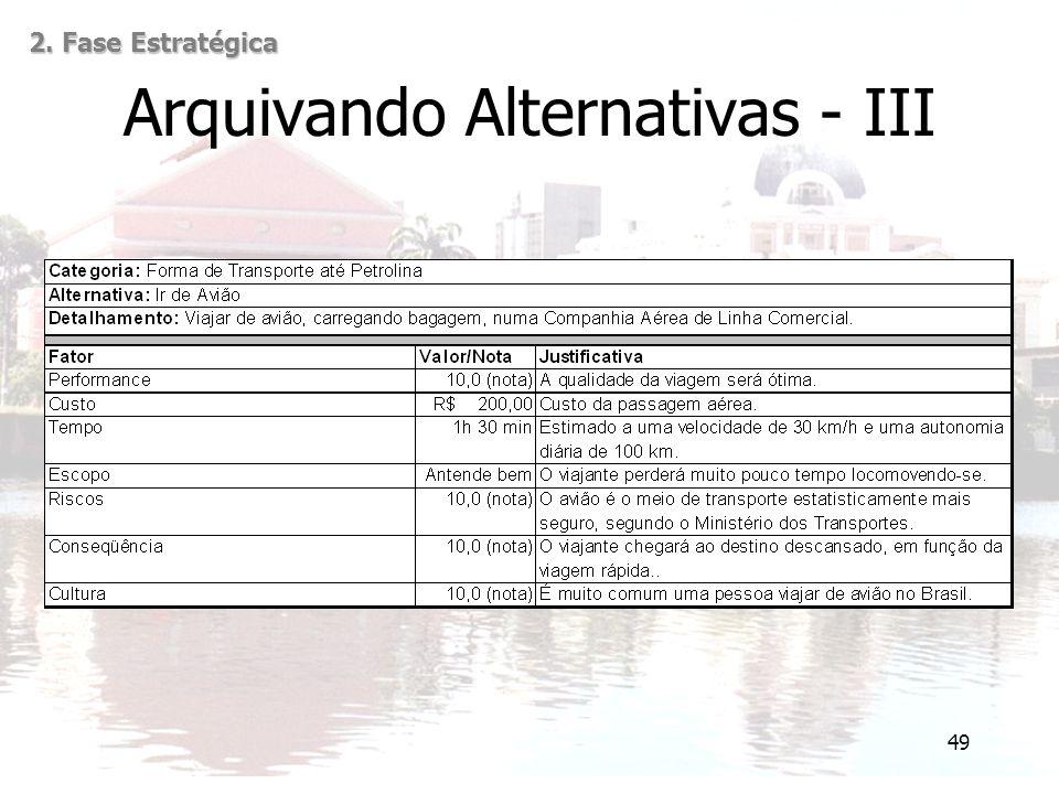 49 Arquivando Alternativas - III 2. Fase Estratégica