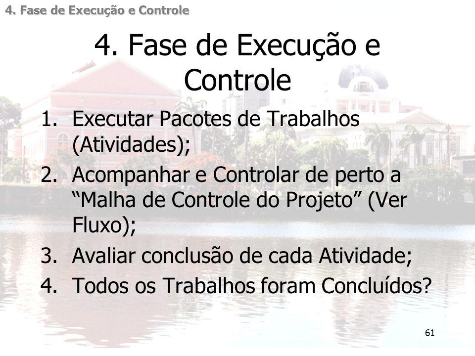 """61 4. Fase de Execução e Controle 1.Executar Pacotes de Trabalhos (Atividades); 2.Acompanhar e Controlar de perto a """"Malha de Controle do Projeto"""" (Ve"""