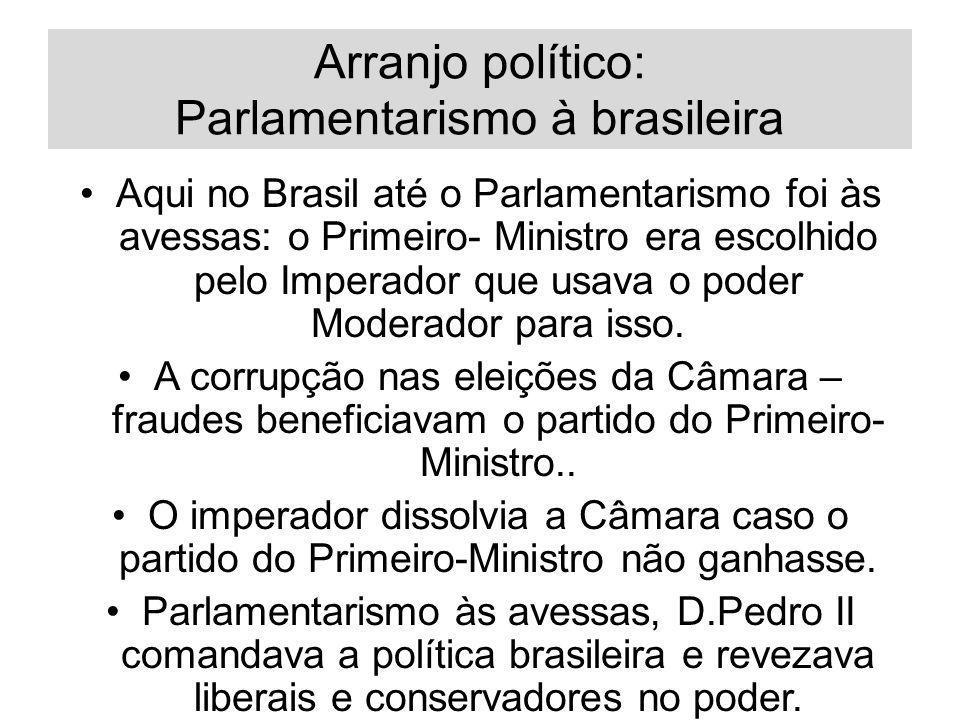 Arranjo político: Parlamentarismo à brasileira Aqui no Brasil até o Parlamentarismo foi às avessas: o Primeiro- Ministro era escolhido pelo Imperador