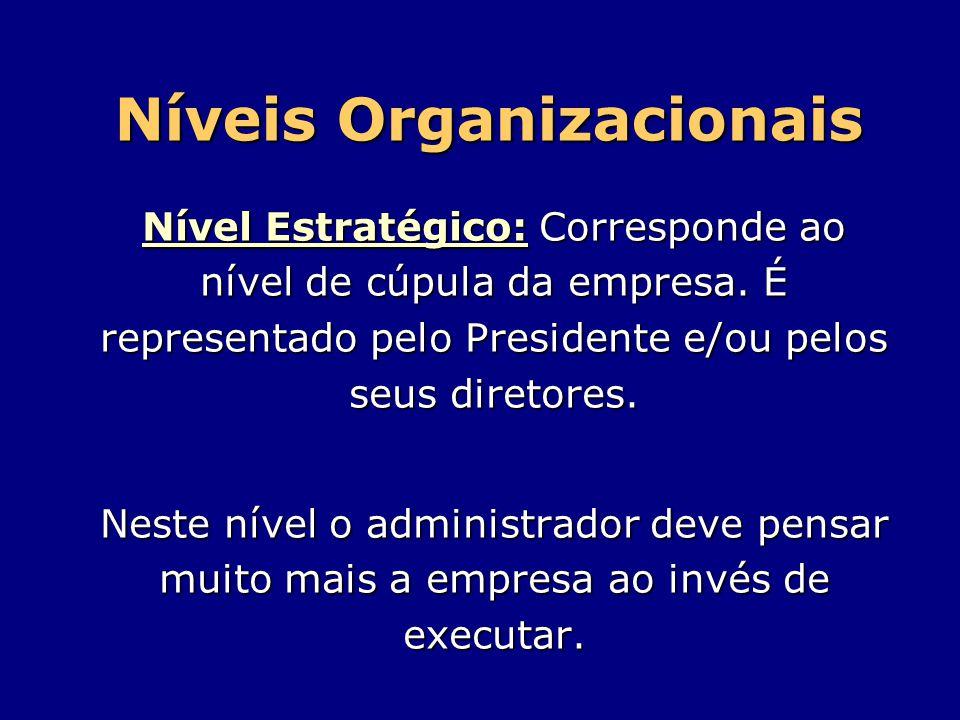 Níveis Organizacionais Nível Estratégico: Corresponde ao nível de cúpula da empresa. É representado pelo Presidente e/ou pelos seus diretores. Neste n