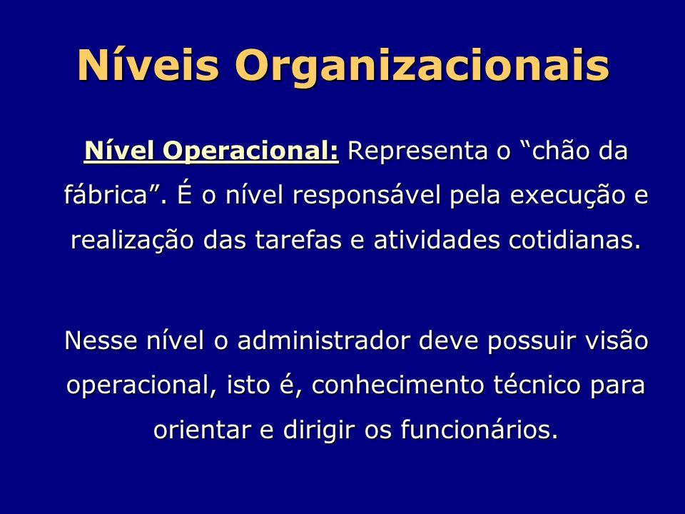 """Níveis Organizacionais Nível Operacional: Representa o """"chão da fábrica"""". É o nível responsável pela execução e realização das tarefas e atividades co"""