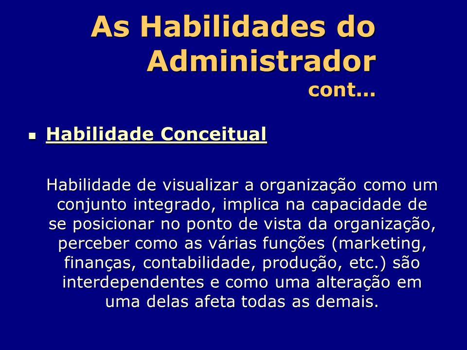 As Habilidades do Administrador cont... Habilidade Conceitual Habilidade Conceitual Habilidade de visualizar a organização como um conjunto integrado,