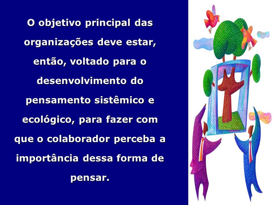 O objetivo principal das organizações deve estar, então, voltado para o desenvolvimento do pensamento sistêmico e ecológico, para fazer com que o cola