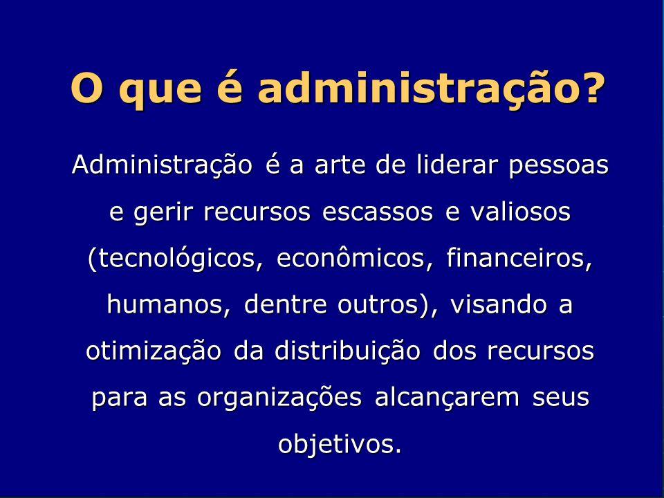 O que é administração? Administração é a arte de liderar pessoas e gerir recursos escassos e valiosos (tecnológicos, econômicos, financeiros, humanos,