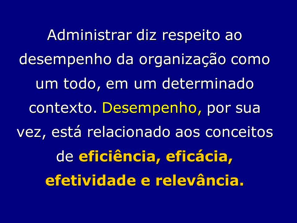 Administrar diz respeito ao desempenho da organização como um todo, em um determinado contexto. Desempenho, por sua vez, está relacionado aos conceito