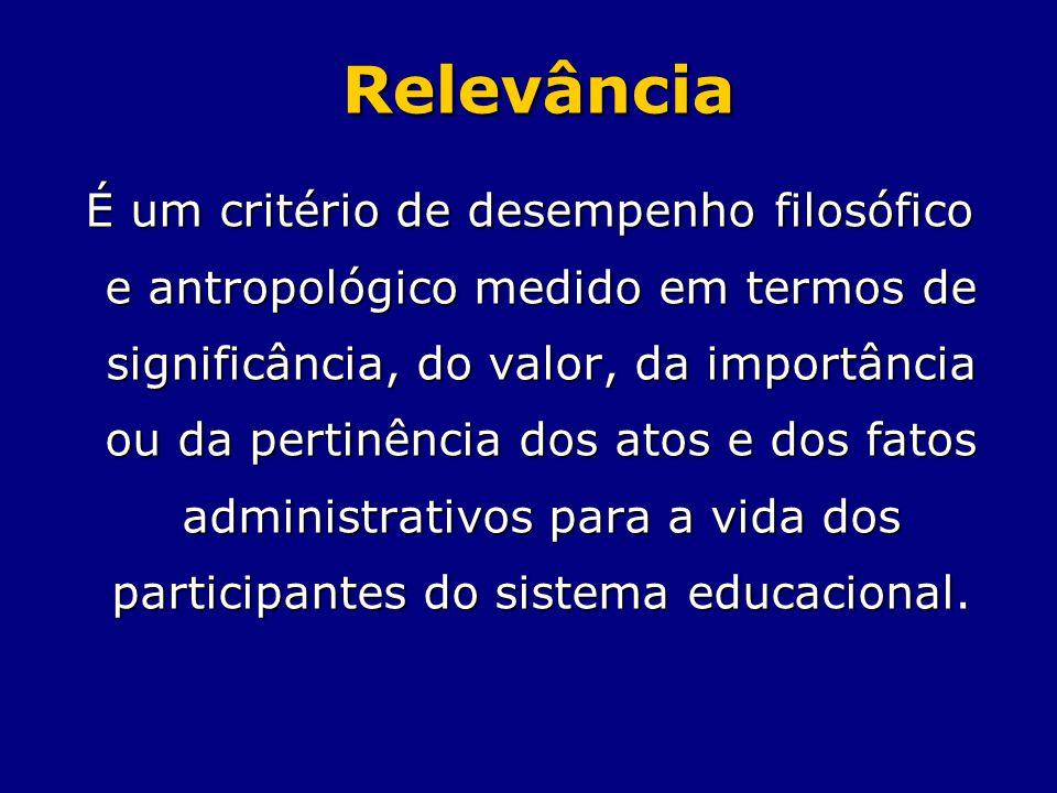 Relevância É um critério de desempenho filosófico e antropológico medido em termos de significância, do valor, da importância ou da pertinência dos at