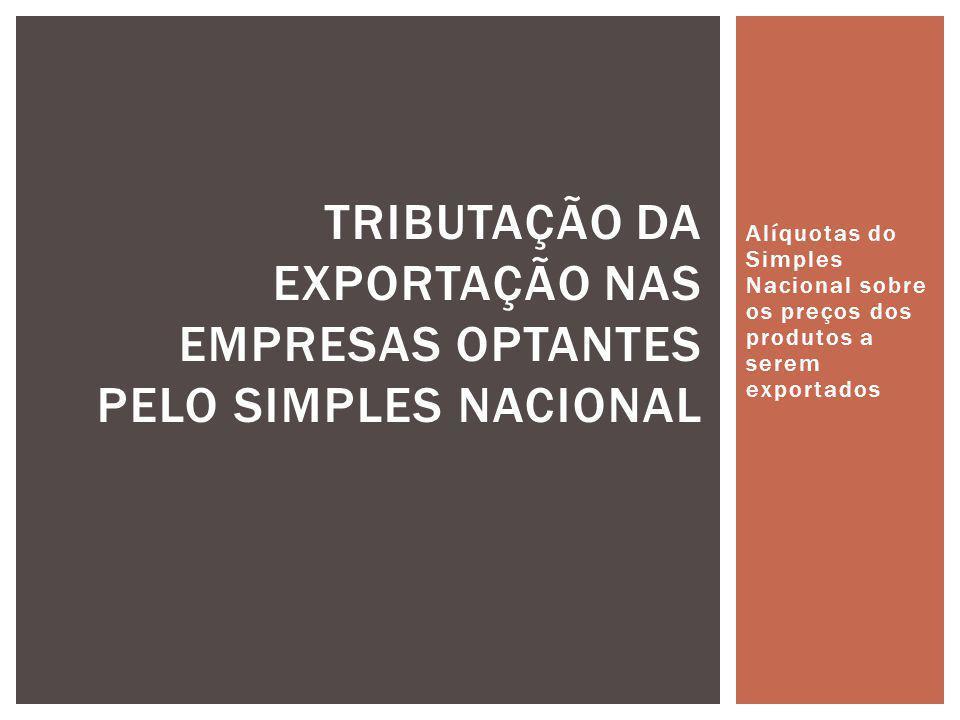 Alíquotas do Simples Nacional sobre os preços dos produtos a serem exportados TRIBUTAÇÃO DA EXPORTAÇÃO NAS EMPRESAS OPTANTES PELO SIMPLES NACIONAL