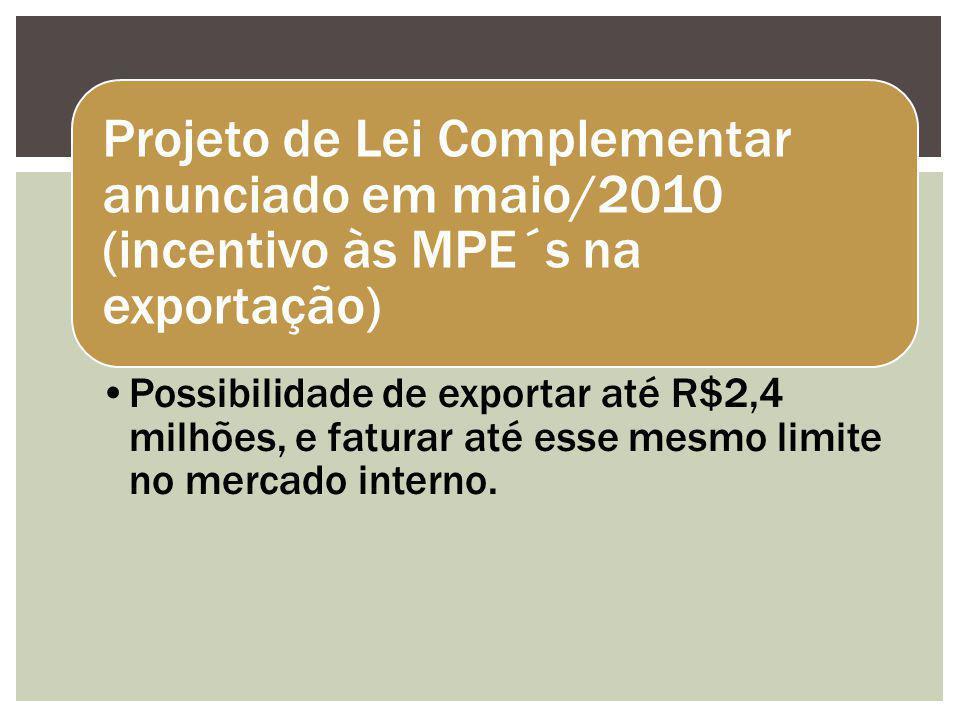 Projeto de Lei Complementar anunciado em maio/2010 (incentivo às MPE´s na exportação) Possibilidade de exportar até R$2,4 milhões, e faturar até esse mesmo limite no mercado interno.