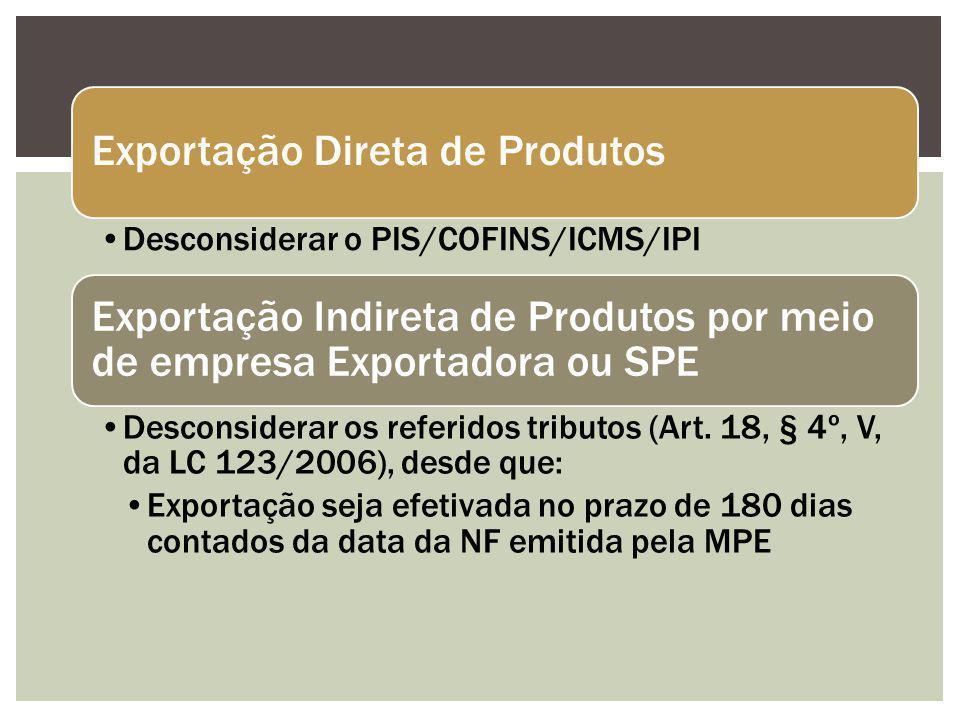 Exportação Direta de Produtos Desconsiderar o PIS/COFINS/ICMS/IPI Exportação Indireta de Produtos por meio de empresa Exportadora ou SPE Desconsiderar os referidos tributos (Art.