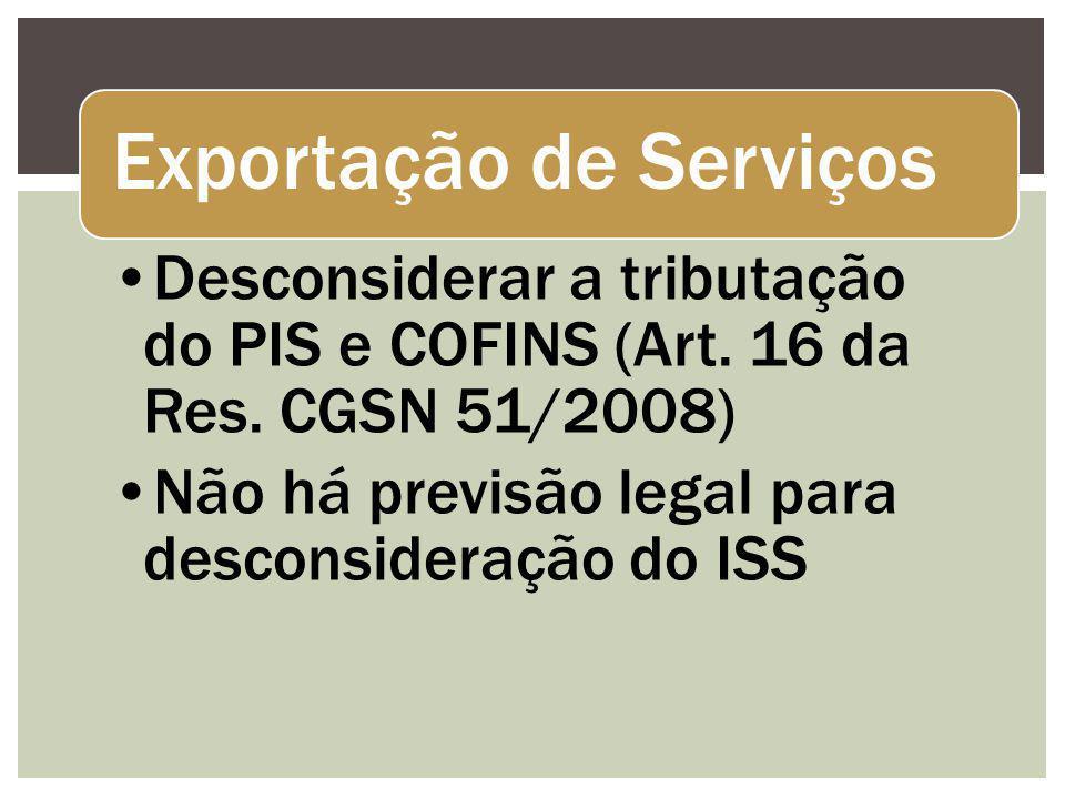 Exportação de Serviços Desconsiderar a tributação do PIS e COFINS (Art. 16 da Res. CGSN 51/2008) Não há previsão legal para desconsideração do ISS
