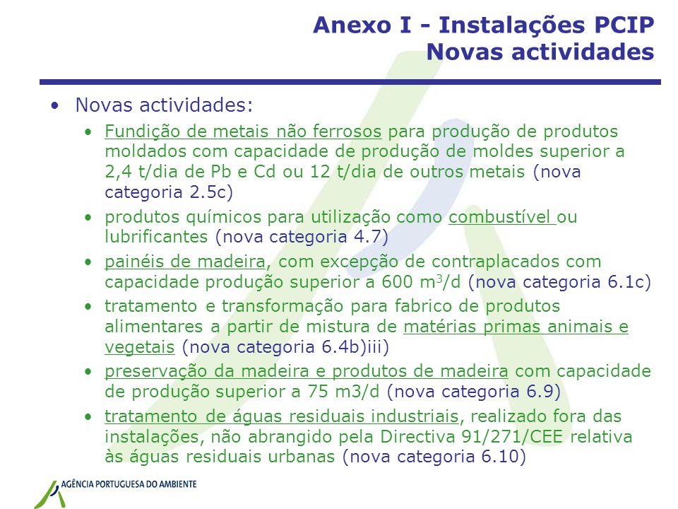 Anexo I - Instalações PCIP Novas actividades Novas actividades: Fundição de metais não ferrosos para produção de produtos moldados com capacidade de p