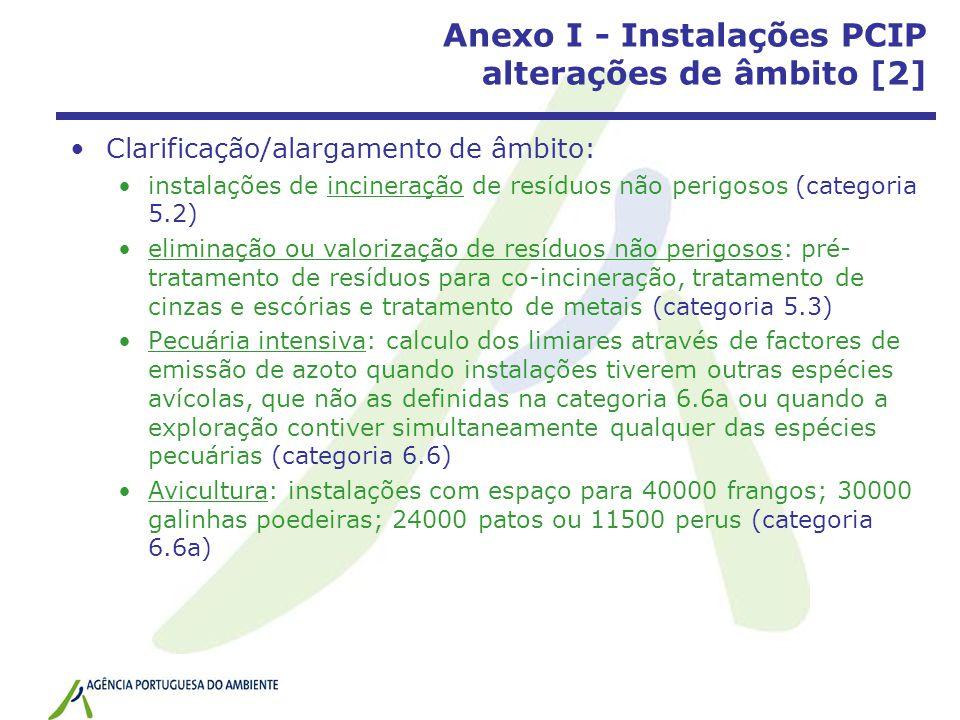 Anexo I - Instalações PCIP alterações de âmbito [2] Clarificação/alargamento de âmbito: instalações de incineração de resíduos não perigosos (categoria 5.2) eliminação ou valorização de resíduos não perigosos: pré- tratamento de resíduos para co-incineração, tratamento de cinzas e escórias e tratamento de metais (categoria 5.3) Pecuária intensiva: calculo dos limiares através de factores de emissão de azoto quando instalações tiverem outras espécies avícolas, que não as definidas na categoria 6.6a ou quando a exploração contiver simultaneamente qualquer das espécies pecuárias (categoria 6.6) Avicultura: instalações com espaço para 40000 frangos; 30000 galinhas poedeiras; 24000 patos ou 11500 perus (categoria 6.6a)