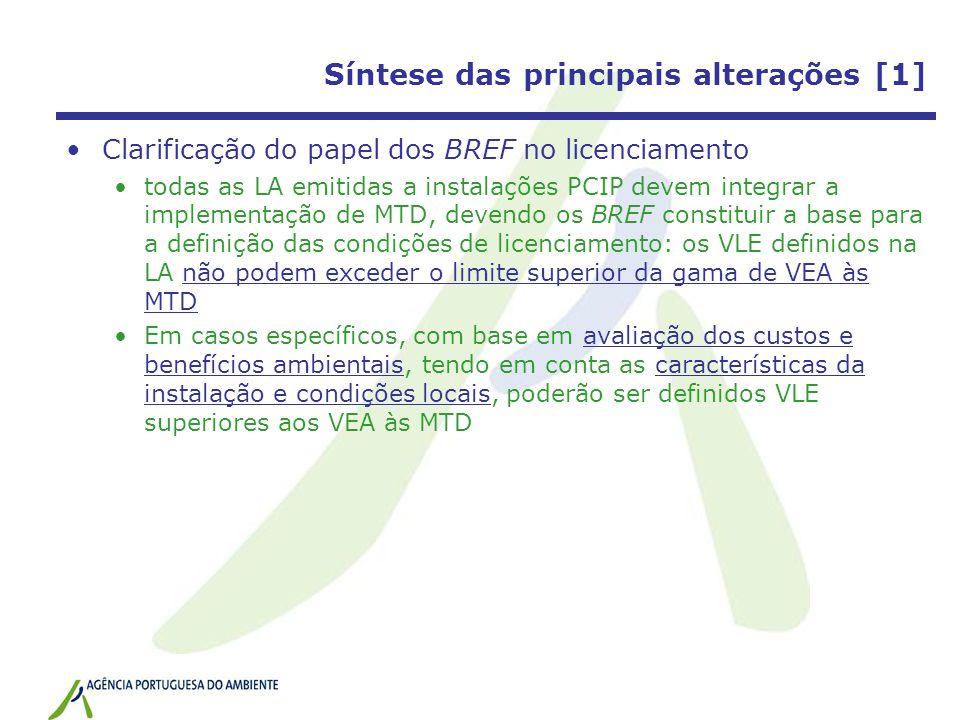 Síntese das principais alterações [1] Clarificação do papel dos BREF no licenciamento todas as LA emitidas a instalações PCIP devem integrar a impleme