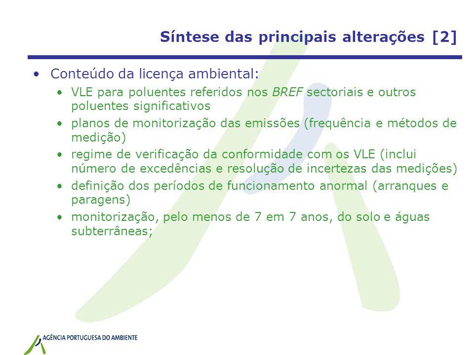Síntese das principais alterações [2] Conteúdo da licença ambiental: VLE para poluentes referidos nos BREF sectoriais e outros poluentes significativo