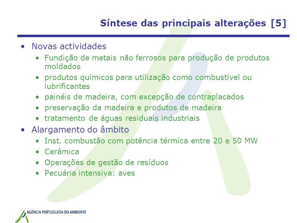 Síntese das principais alterações [5] Novas actividades Fundição de metais não ferrosos para produção de produtos moldados produtos químicos para util