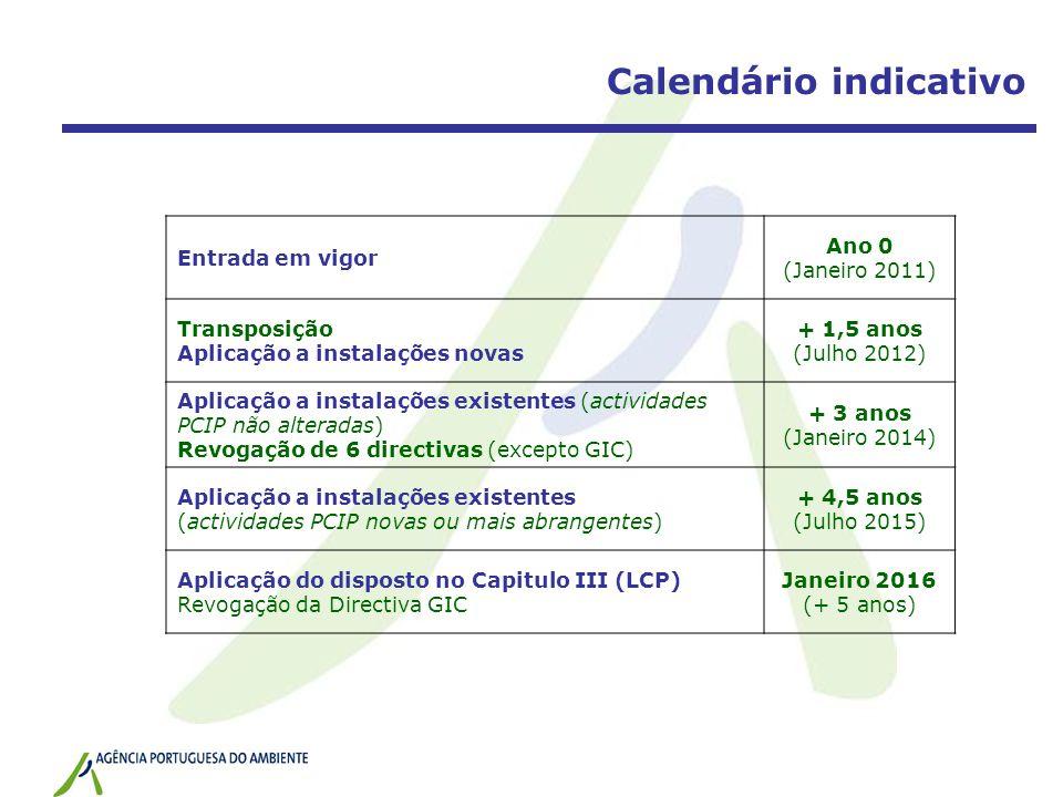 Calendário indicativo Entrada em vigor Ano 0 (Janeiro 2011) Transposição Aplicação a instalações novas + 1,5 anos (Julho 2012) Aplicação a instalações existentes (actividades PCIP não alteradas) Revogação de 6 directivas (excepto GIC) + 3 anos (Janeiro 2014) Aplicação a instalações existentes (actividades PCIP novas ou mais abrangentes) + 4,5 anos (Julho 2015) Aplicação do disposto no Capitulo III (LCP) Revogação da Directiva GIC Janeiro 2016 (+ 5 anos)