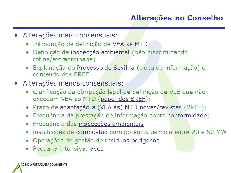 Alterações no Conselho Alterações mais consensuais: Introdução de definição de VEA às MTD Definição de inspecção ambiental (não discriminando rotina/extraordinária) Explanação do Processo de Sevilha (troca de informação) e conteúdo dos BREF Alterações menos consensuais: Clarificação da obrigação legal de definição de VLE que não excedam VEA às MTD (papel dos BREF); Prazo de adaptação a (VEA às) MTD novas/revistas (BREF); Frequência da prestação de informação sobre conformidade; Frequência das inspecções ambientais instalações de combustão com potência térmica entre 20 e 50 MW Operações de gestão de resíduos perigosos Pecuária intensiva: aves