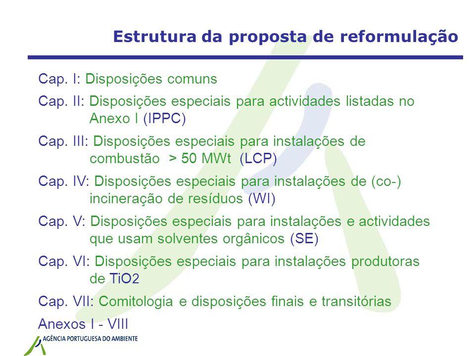 Estrutura da proposta de reformulação Cap. I: Disposições comuns Cap. II: Disposições especiais para actividades listadas no Anexo I (IPPC) Cap. III: