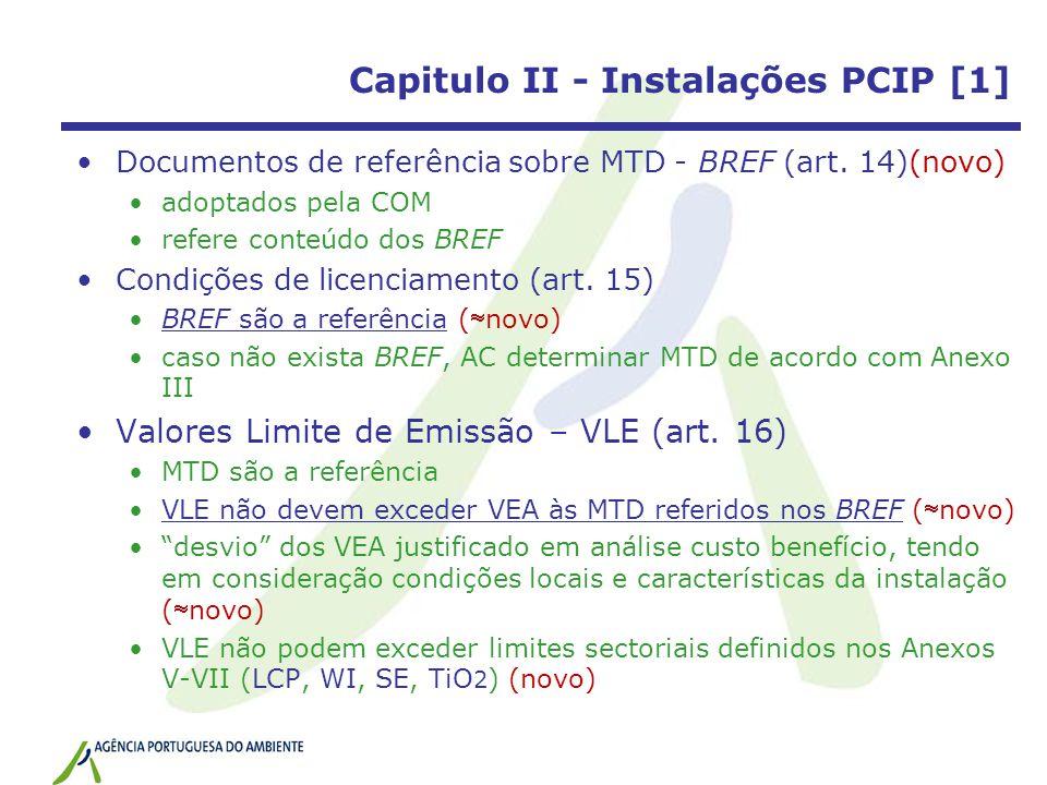 Capitulo II - Instalações PCIP [1] Documentos de referência sobre MTD - BREF (art. 14)(novo) adoptados pela COM refere conteúdo dos BREF Condições de