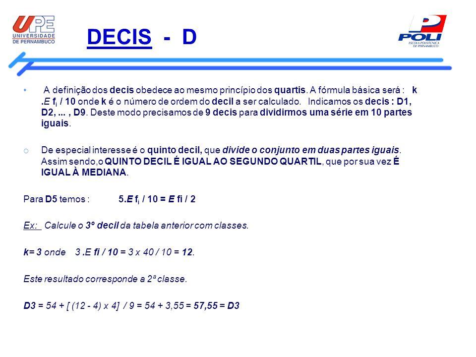 DECIS - D A definição dos decis obedece ao mesmo princípio dos quartis. A fórmula básica será : k.E f i / 10 onde k é o número de ordem do decil a ser
