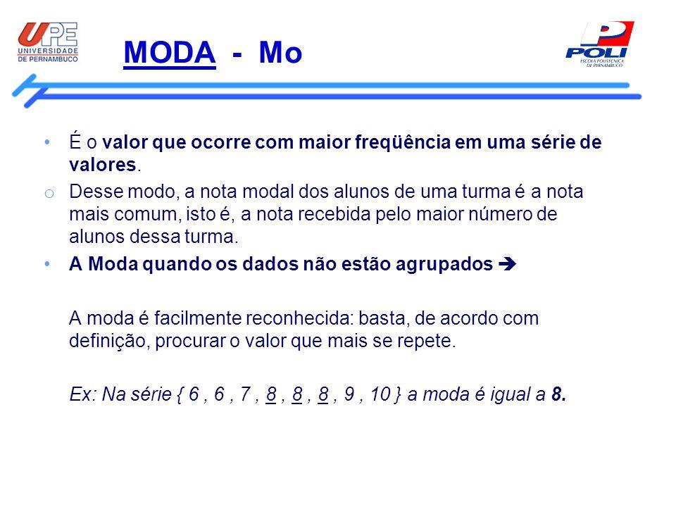 MODA - Mo É o valor que ocorre com maior freqüência em uma série de valores. o Desse modo, a nota modal dos alunos de uma turma é a nota mais comum, i