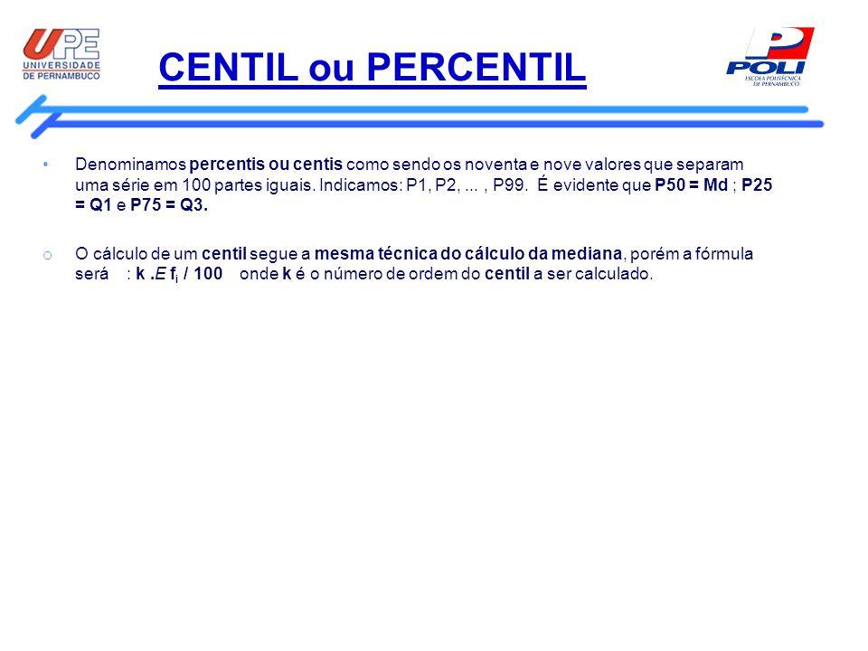 CENTIL ou PERCENTIL Denominamos percentis ou centis como sendo os noventa e nove valores que separam uma série em 100 partes iguais. Indicamos: P1, P2