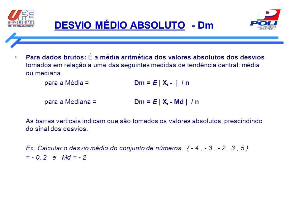 DESVIO MÉDIO ABSOLUTO - Dm Para dados brutos: É a média aritmética dos valores absolutos dos desvios tomados em relação a uma das seguintes medidas de