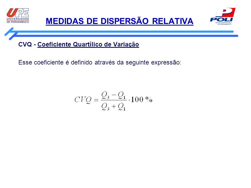 MEDIDAS DE DISPERSÃO RELATIVA CVQ - Coeficiente Quartílico de Variação Esse coeficiente é definido através da seguinte expressão: