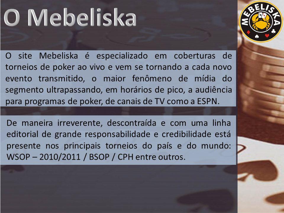 O site Mebeliska é especializado em coberturas de torneios de poker ao vivo e vem se tornando a cada novo evento transmitido, o maior fenômeno de mídia do segmento ultrapassando, em horários de pico, a audiência para programas de poker, de canais de TV como a ESPN.