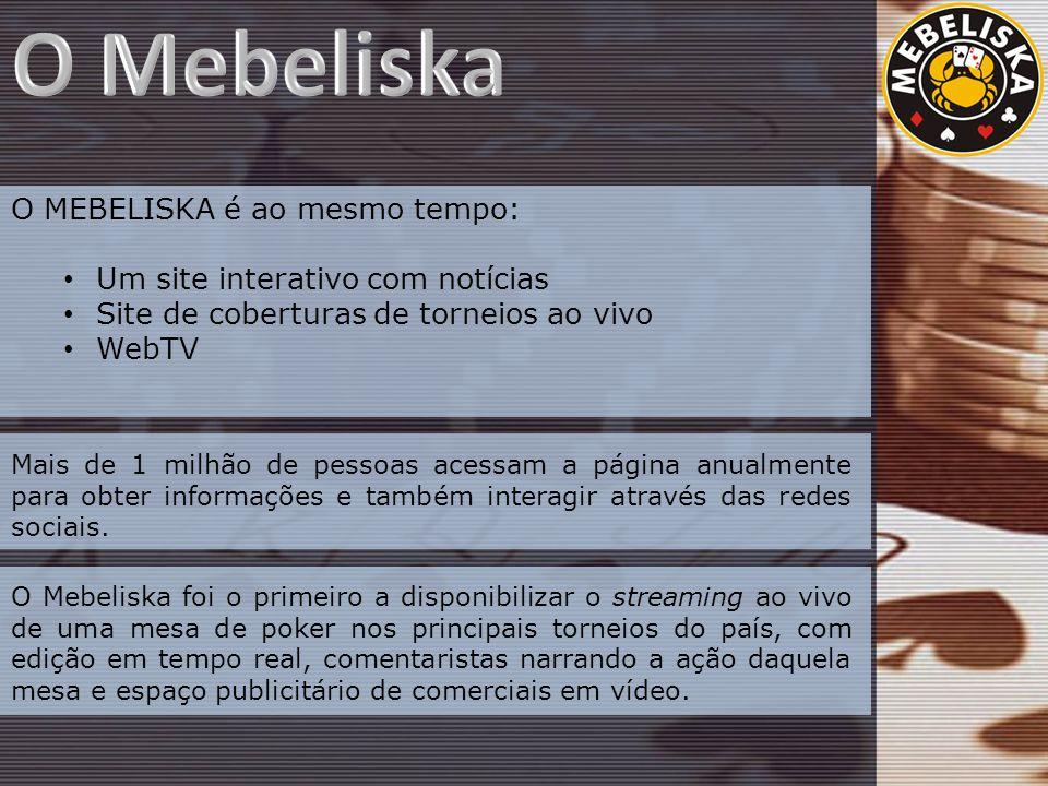 O MEBELISKA é ao mesmo tempo: Um site interativo com notícias Site de coberturas de torneios ao vivo WebTV Mais de 1 milhão de pessoas acessam a página anualmente para obter informações e também interagir através das redes sociais.